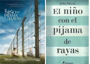 """Portada del libro y la película """"El niño con el pijama de rayas"""""""
